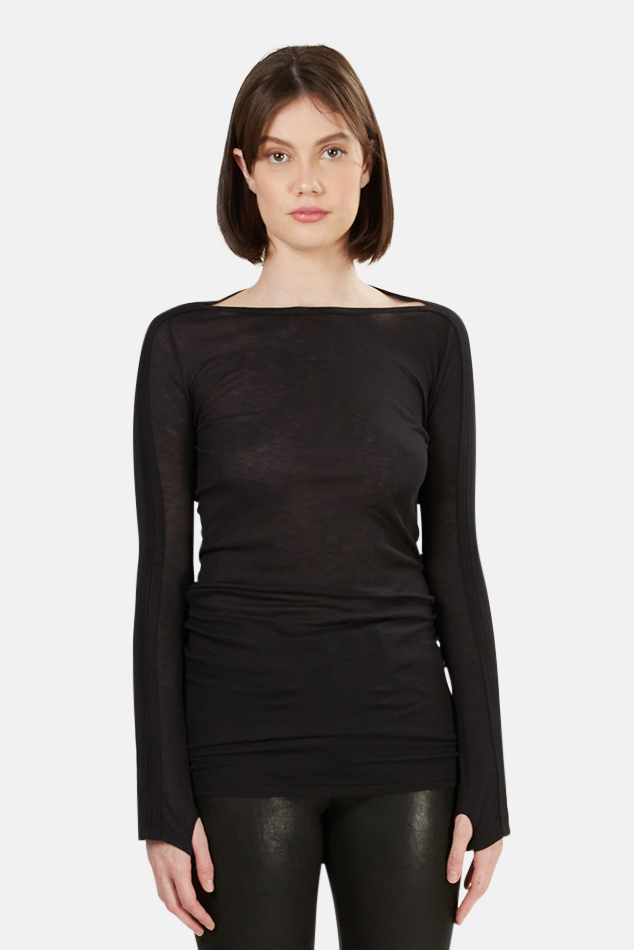 Women's T by Alexander Wang Boat Neck LS in Black, Size Small