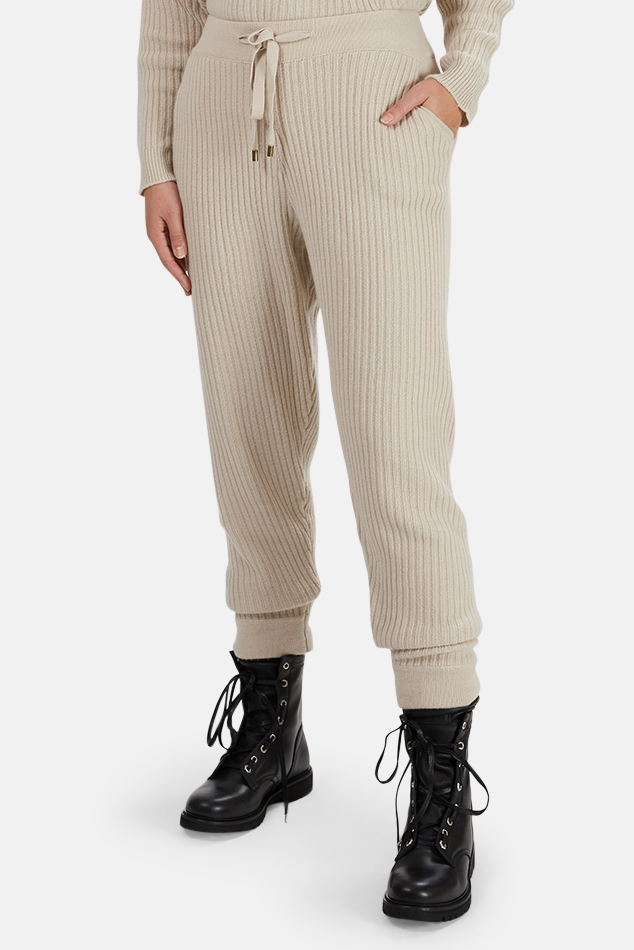 Women's The Tile Club Florence Ribbed Cashmere Pants in Cream, Size Medium
