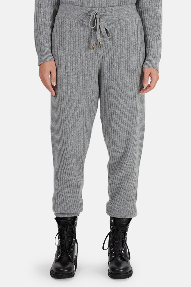 Women's The Tile Club Florence Ribbed Cashmere Pants in Grey, Size Medium