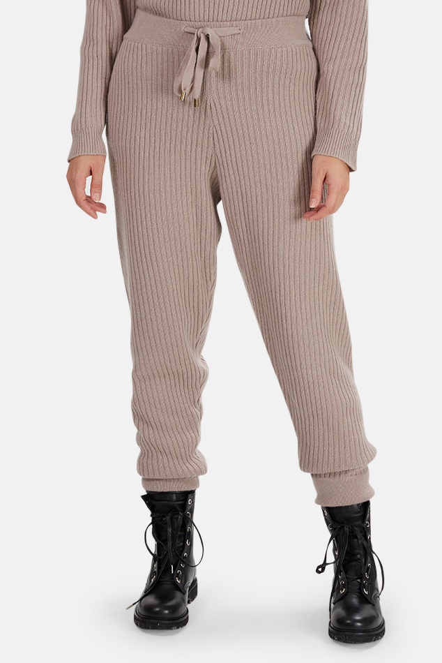 Women's The Tile Club Florence Ribbed Cashmere Pants in Mauve, Size Medium