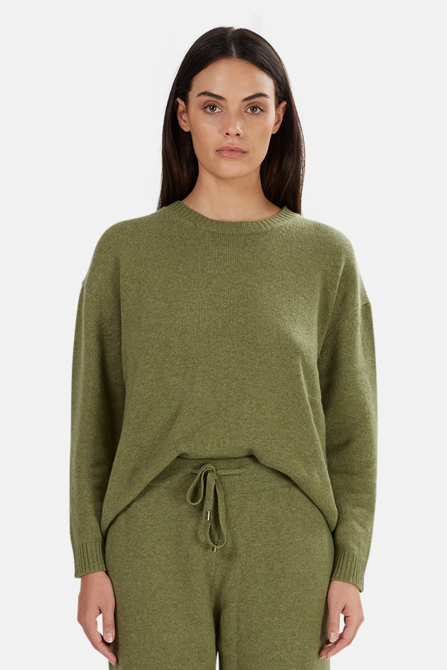 Women's The Tile Club Jackson Cashmere Sweater in Army, Size Large