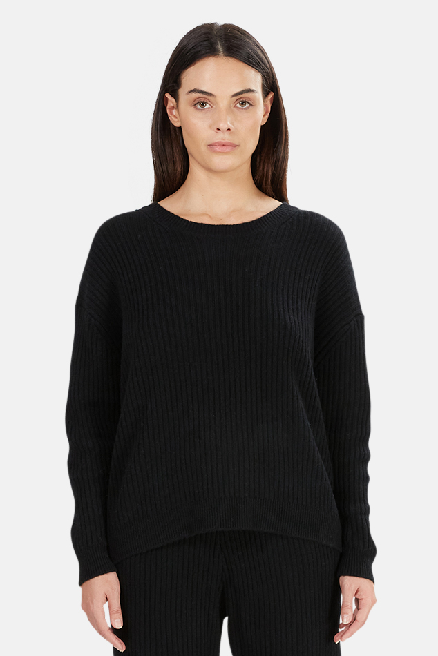 Women's The Tile Club Evelyn Ribbed Cashmere Sweater in Black, Size Medium