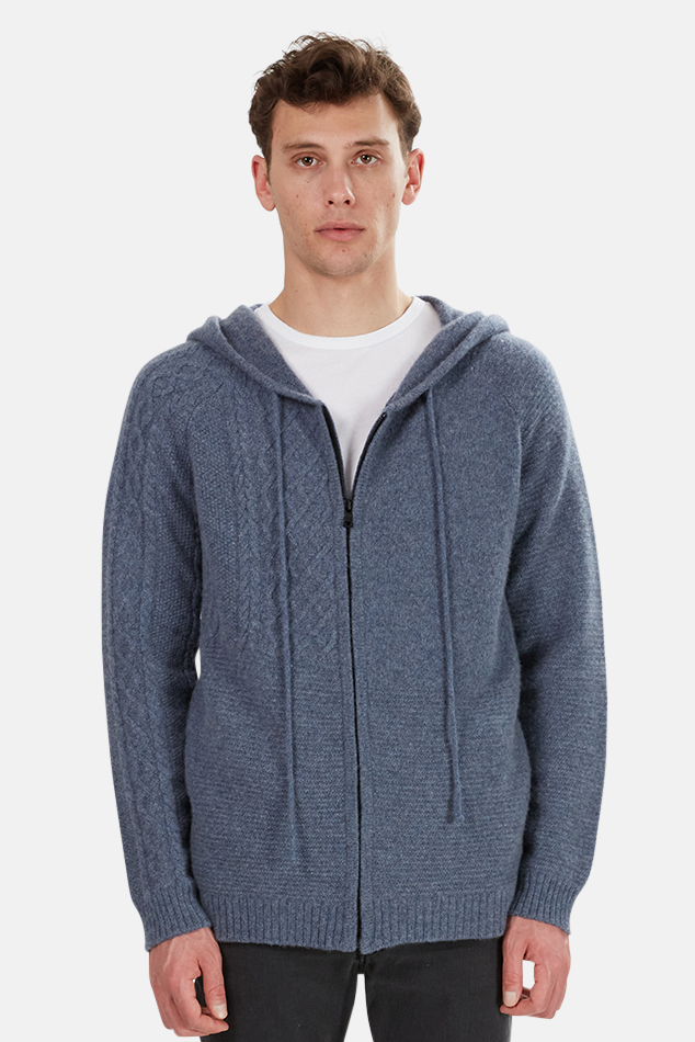 Men's Harden Mixed Stitch Hoodie Sweater in Blue, Size Large