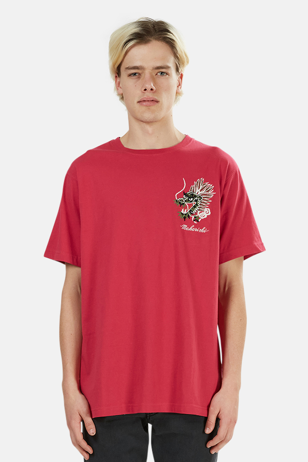 Men's Maharishi Ghost Dragon Graphic T-Shirt in Pink, Size Large