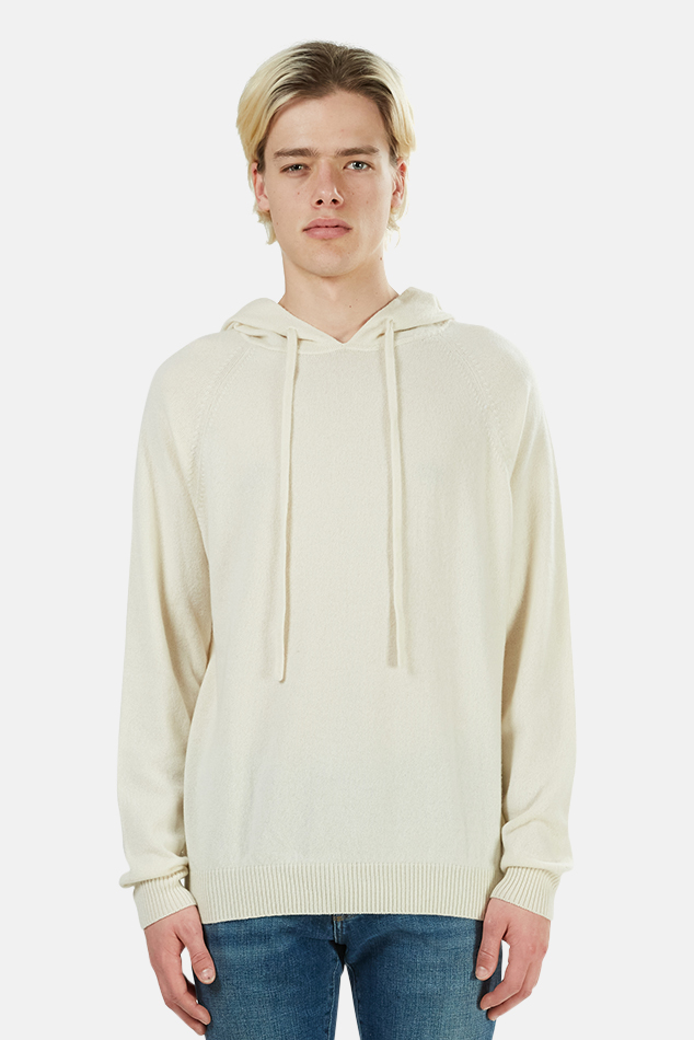 Men's Harden Cashmere Pullover Hoodie Sweater in White, Size Small