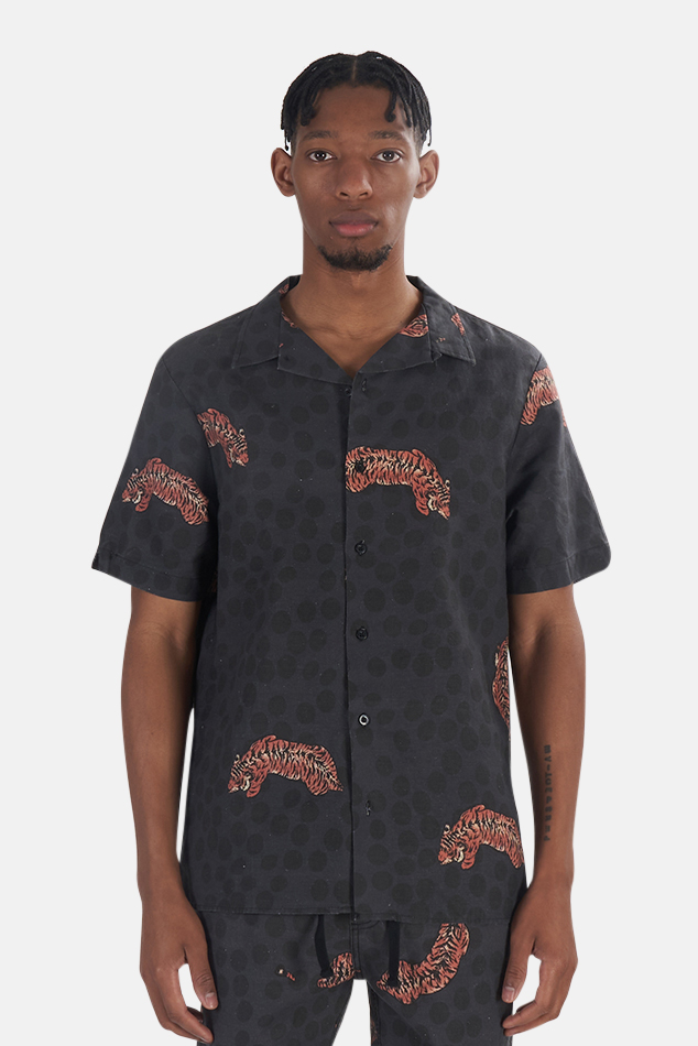 Men's Thrills Spinal Bowling Shirt in Black, Size Large