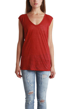 Women's Giada Forte Scoop Neck T-Shirt in Ruby, Size 3