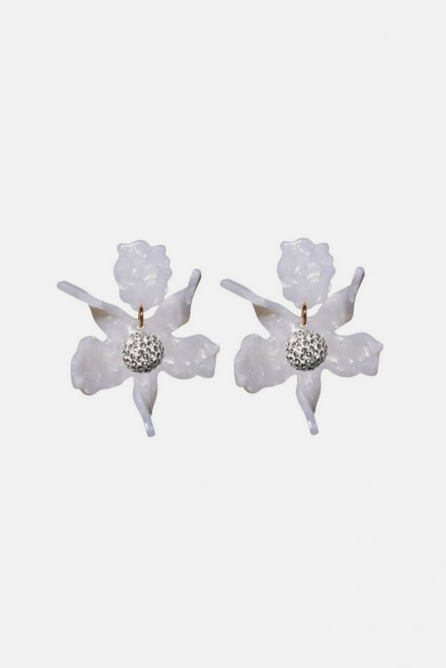 Women's Lele Sadoughi Small Crystal Lily Earrings in Mother Of Pearl