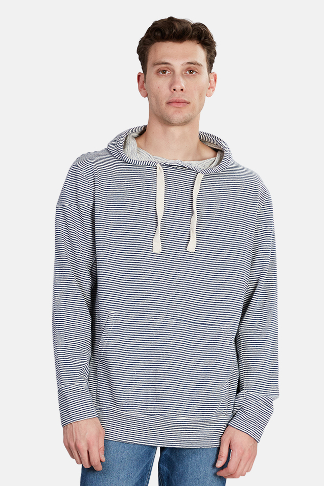 Men's Jungmaven Stripe Maui Hoodie Sweater in Navy, Size Large