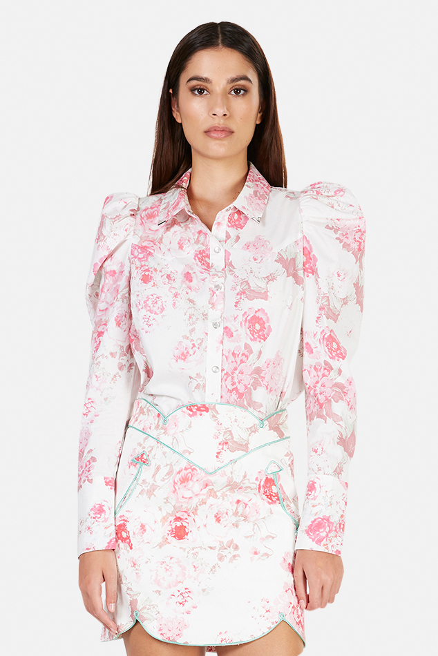 Women's For Love and Lemons For Love & Lemons Saratoga Floral Blouse in Pink, Size Large