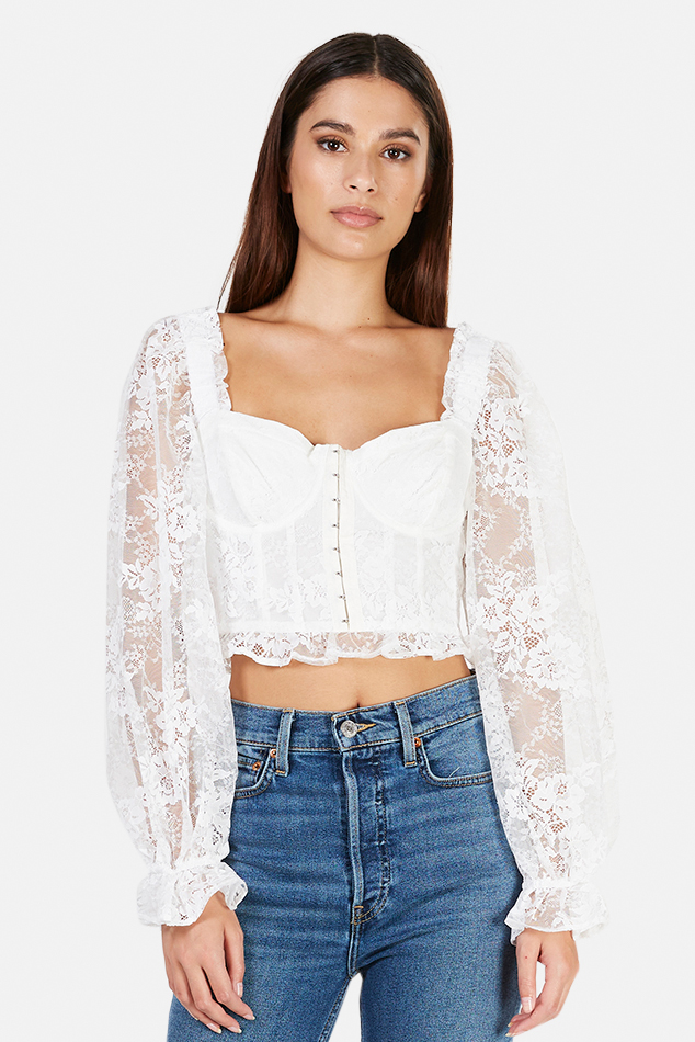Women's For Love and Lemons For Love & Lemons Cheyenne Lace Bustier Top in Ivory, Size Medium