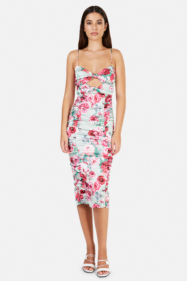 Women's For Love and Lemons For Love & Lemons Robin Floral Midi Dress in Mint, Size Medium