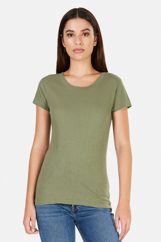 Women's L'Agence Cory Classic T-Shirt in Basil, Size Large