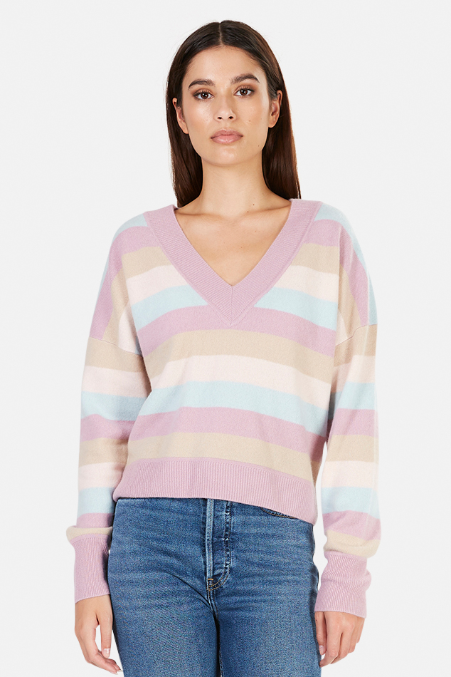 Women's NAADAM Striped Cashmere V Neck Sweater in Lilac, Size Medium