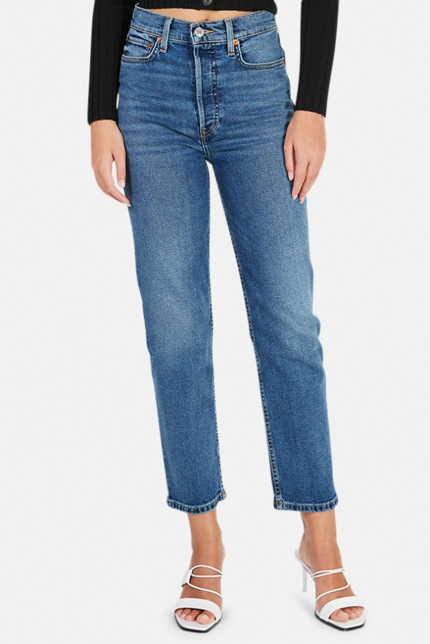 RE/DONE 70s Ultra High Rise Stove Pipe Jeans