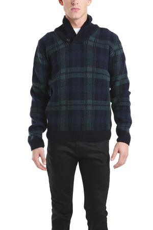 Men's Woolrich Heritage Shawl Collar Sweater in Plaid, Size XL