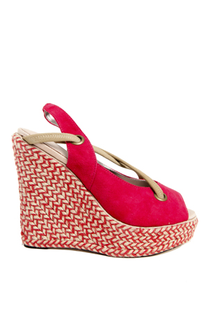 Women's Charlotte Ronson Josephine Sling Back Espadrille Wedge Shoes in Red, Size 5