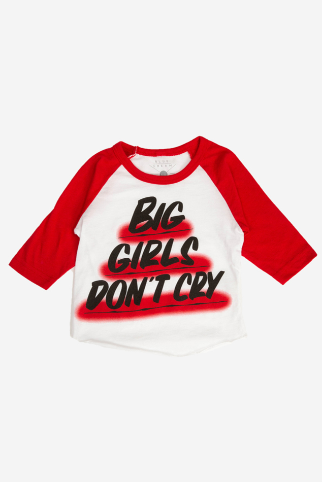 Baron Von Fancy Big Girls Don't Cry Raglan in White/Red, Size 12-18 mo