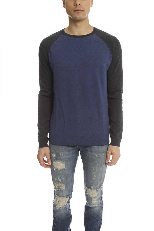 Men's Vince Cotton Cashmere Colorblock Sweater in Black/Blue, Size Small