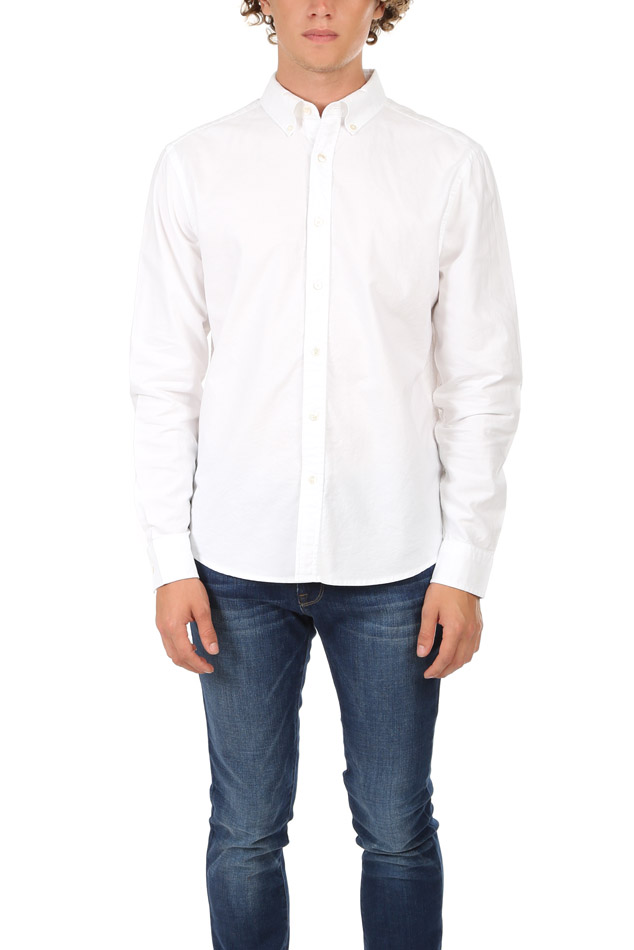 Men's FRAME Classic Fit Button Down Top in White, Size Large