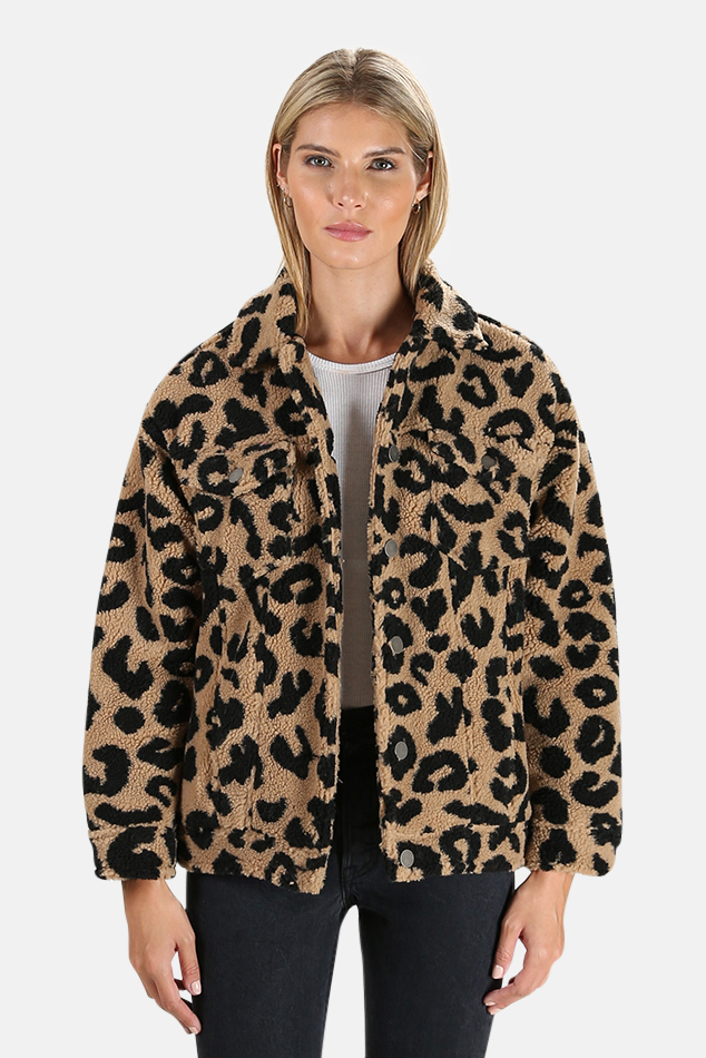 Women's Apparis Tiarra Teddy Bear Jacket in Leopard, Size Small