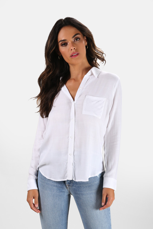 Women's Rails Hunter Button Down Top in Ivory, Size Medium