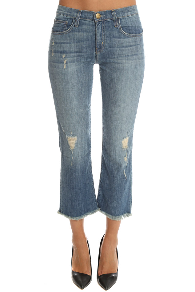 Current/elliott Woman Cropped Mid-rise Flared Jeans Mid Denim Size 28 Current Elliott mIaHO5