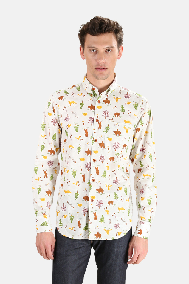 Men's Naked & Famous Easy Shirt in Creatures Of The Forest, Size Medium