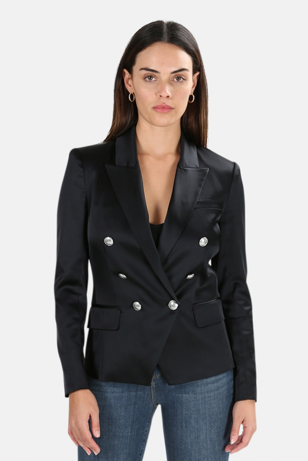 L'Agence Kenzie Satin Double Breasted Blazer
