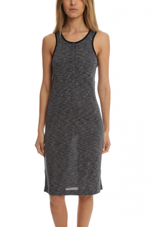 ATM Sleeveless Melange Henley Dress