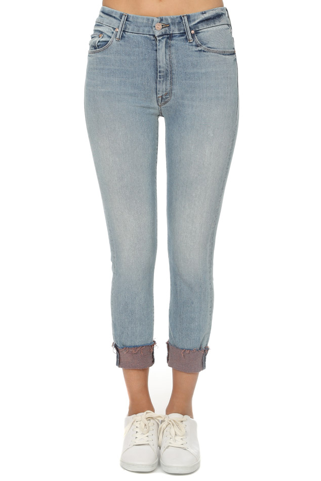 Women's MOTHER High Waisted Looker Ankle Fray Jeans in Pretty Please, Size 24