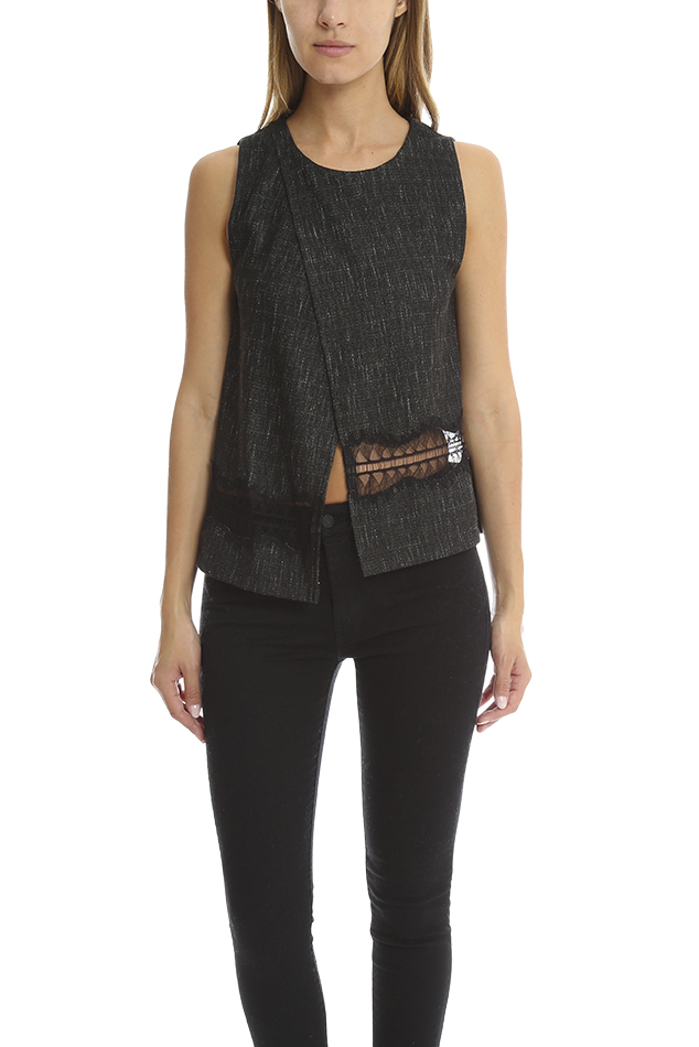 Women's Thakoon Addition Crossover Woven Tank Top in Grey, Size 0
