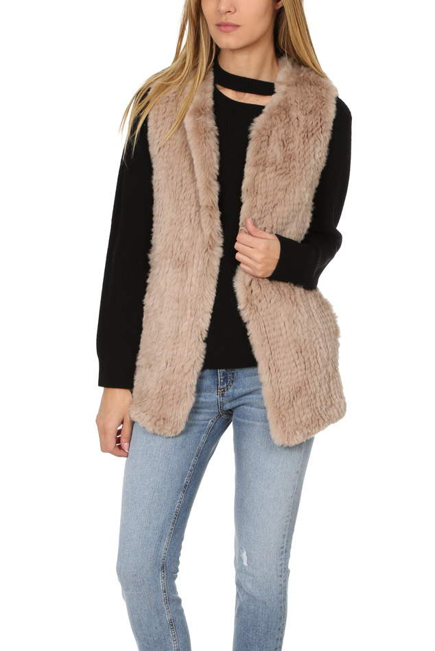Women's H Brand Belle Fur Vest in Taupe, Size Small/Medium