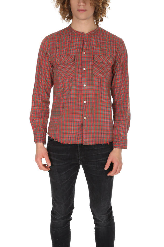 Men's Onestroke Check Stand Collar Shirt in Red, Size Medium