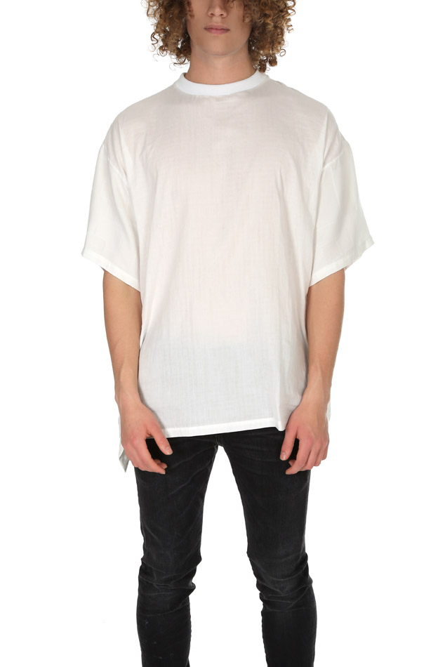 Men's Long Journey Baggy Contrast Back T-Shirt in White, Size Large