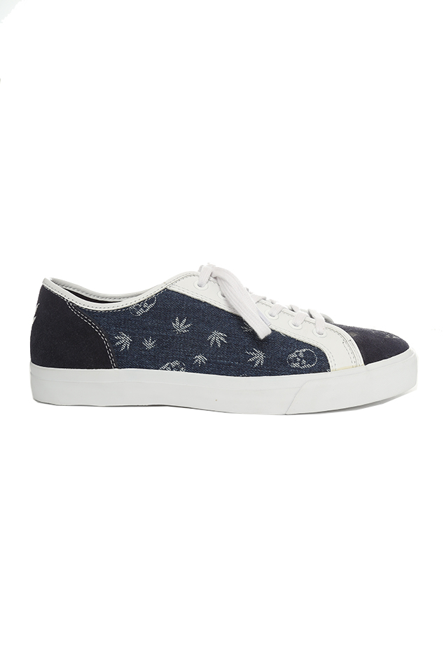 Lucien Pellat-Finet Monogram Mix Sneaker Shoes in Indigo, Size 12
