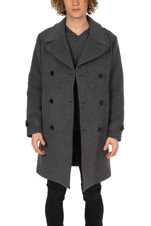Men's Todd Snyder Grant Officer Coat in Charcoal, Size Small