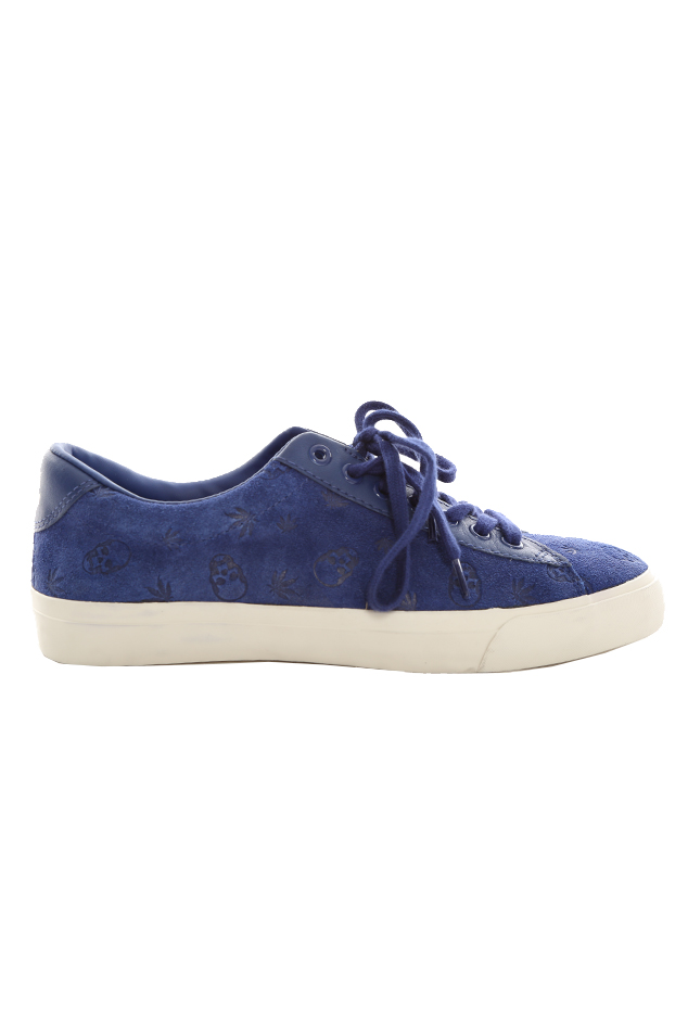 Lucien Pellat-Finet Monogram Low Sneaker Shoes in Blue, Size 11