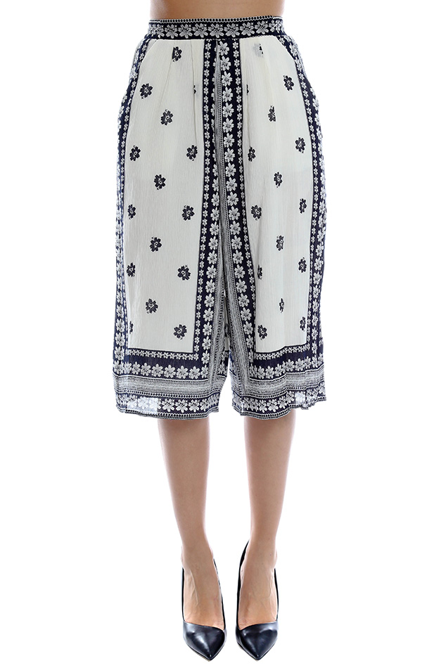 Women's Sea Border Printed Gauchos Pants in Navy, Size 2