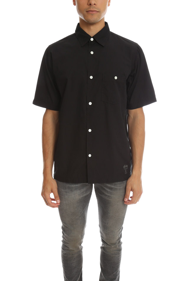 Men's Stussy SS Button Down Top in Black, Size Small