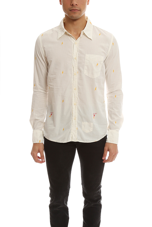 Men's Remi Relief Cotton Silk JQ Shirt in White, Size Large