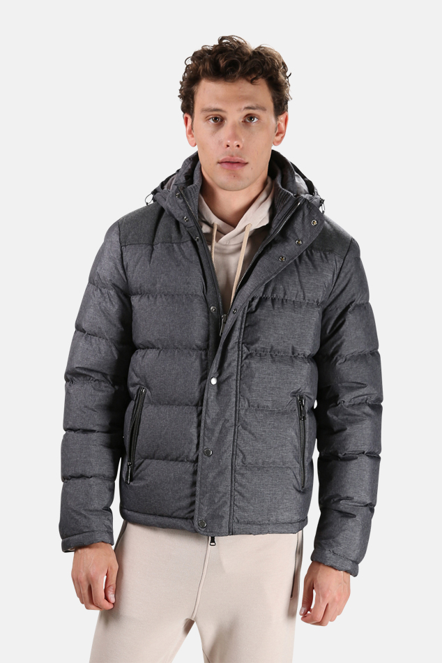 Men's Paul & Shark Woven Nylon Down Jacket in Grey, Size Large