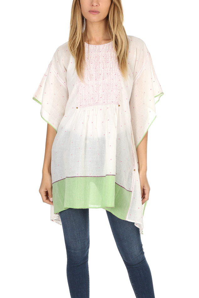 Women's Pero Embroidered Kaftan Top in White/Green, Size 34