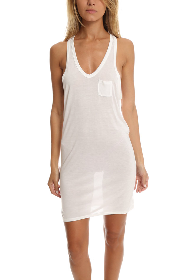 Women's T by Alexander Wang Classic Pocket Tank Dress Top in White, Size Small