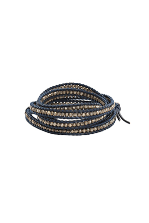 Chan Luu Antique Silver Bead on Navy Leather CHAN5-10