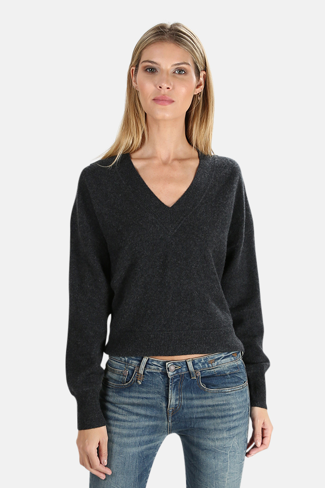 Women's NAADAM Cashmere V Neck Sweater in Smoke, Size Large
