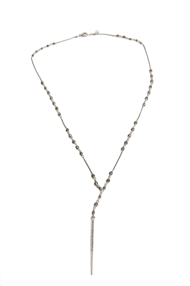 Women's Chan Luu Chain Necklace with Indian Beads in Gunmetal