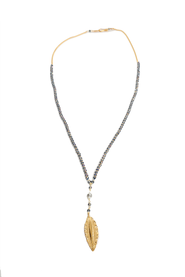 Women's Chan Luu Denim Crystal Necklace with Gold Leaf Charm in Blue