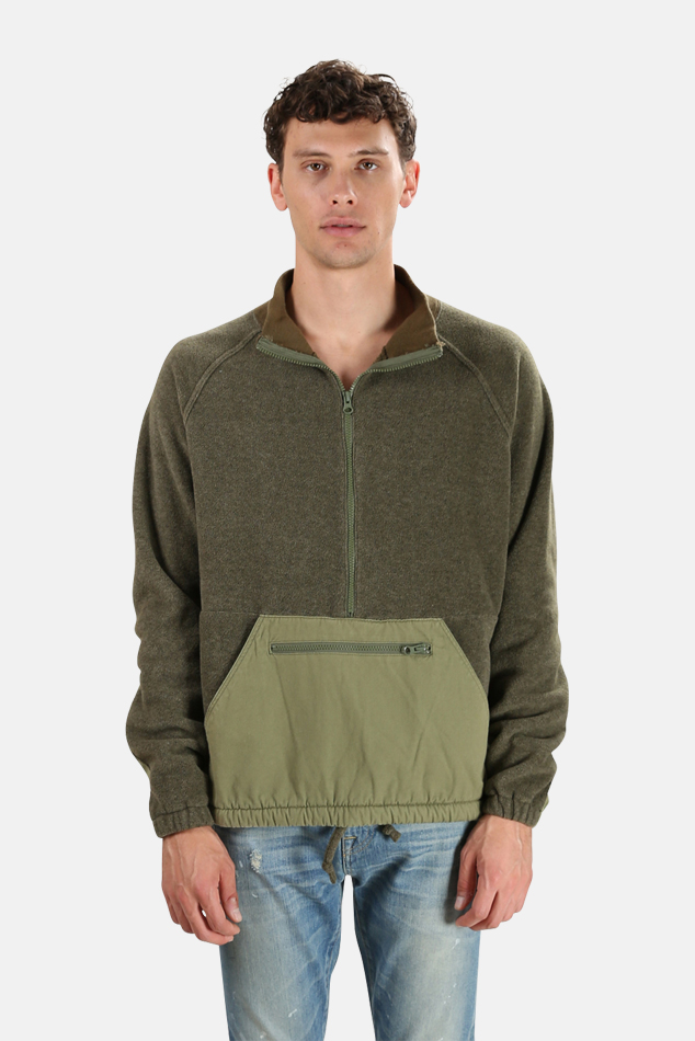 Men's Remi Relief Fleece Anorak Pullover Sweater in Khaki, Size Large