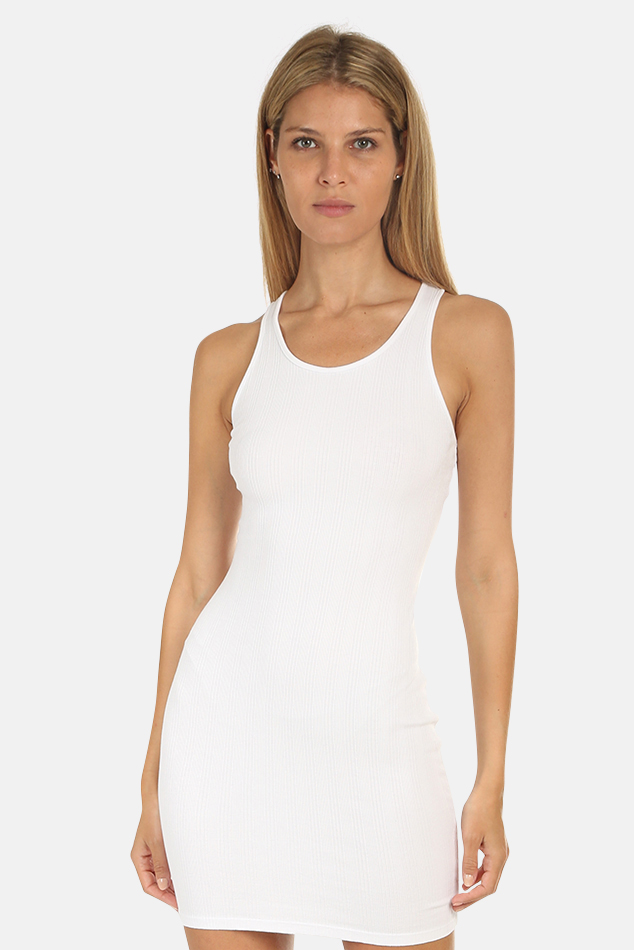 Women's Enza Costa Rib Racer Mini Dress in White, Size Medium